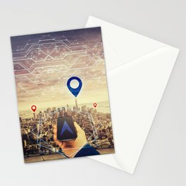gps arrow Stationery Cards