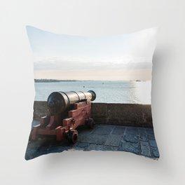 Old gun on the walls of Saint Malo Throw Pillow