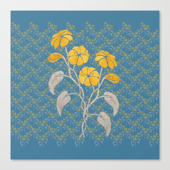 Flowers Blue Pattern Canvas Print