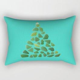 Green Sea Glass Tree on Turquoise #seaglass #Christmas Rectangular Pillow