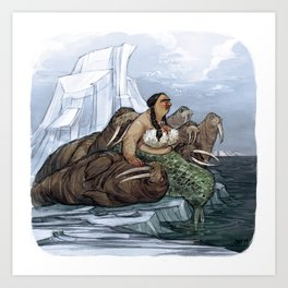 The Arctic Walrus Whisperer Art Print