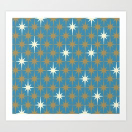 Atomic Age Retro Starburst Mid-century Modern Pattern in Burnished Gold, Cream, and 50s Blue Art Print