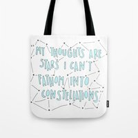 the fault in our stars Tote Bags featuring The Fault in Our Stars by Christa Morgan ☽