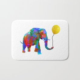 Crayon Colored Elephant with Yellow Balloon Bath Mat