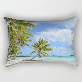 Tropical palm beach in the Pacific Rectangular Pillow