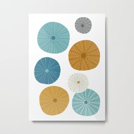 Sea Urchins in Blue + Gold Metal Print