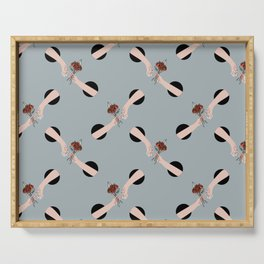 In Love - hands with flowers - GRAY #pattern Serving Tray