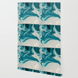 white and teal art Wallpaper
