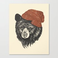 skyline Canvas Prints featuring zissou the bear by Laura Graves