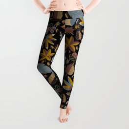 Summer leafs in blue and braun Leggings
