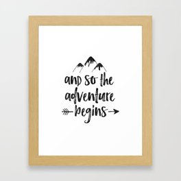 And So The Adventure Begins Sign,Adventure Awaits,Adventure Nursery,Kids Room Decor,Quote Posters,Pr Framed Art Print