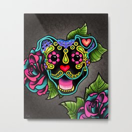 Smiling Pit Bull in Black - Day of the Dead Pitbull Sugar Skull Metal Print