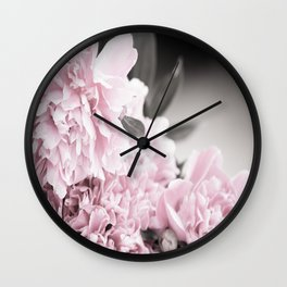 Summer Atmosphere Pale Pink Peonies On The Table #decor #society6 Wall Clock