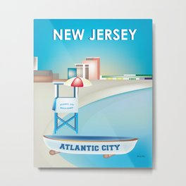 Atlantic City, New Jersey - Skyline Illustration by Loose Petals Metal Print