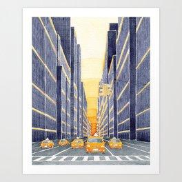 NYC, yellow cabs Art Print
