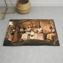 """Classical Masterpiece: Eyre Crowe's """"Slaves Waiting for Sale"""" (1861) Rug"""