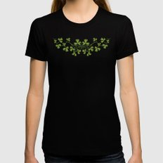 Irish Clover Pattern Womens Fitted Tee Black LARGE