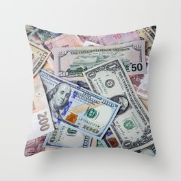 A collection of various foreign currencies Throw Pillow