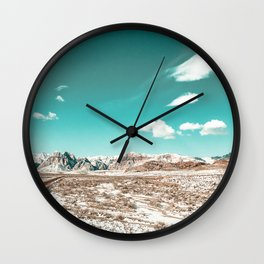 Vintage Desert Clouds // Teal Blue Skyline Mountain Range in the Mojave after a Snow Storm Wall Clock