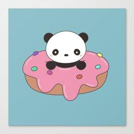 Kawaii Cute Panda Donut Canvas Print