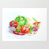 vegetables Art Prints featuring Vegetables by LiliyaChernaya
