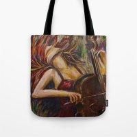 cello Tote Bags featuring Cello Girl by Megan Bailey Gill