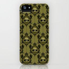Halloween Damask Olive iPhone Case