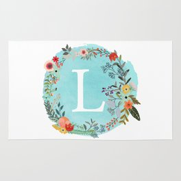 Personalized Monogram Initial Letter L Blue Watercolor Flower Wreath Artwork Rug