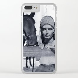 Statue Woman and Her Horse Clear iPhone Case