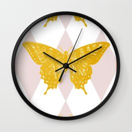 Honey Swallowtail Butterfly Wall Clock