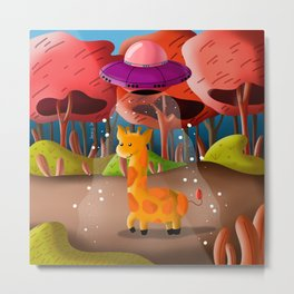 Giraffe Extinction Metal Print
