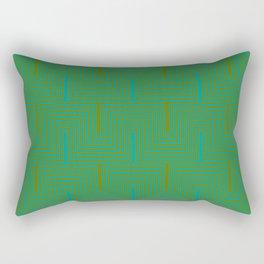 Doors & corners op art pattern in olive green and aqua blue Rectangular Pillow
