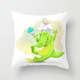 Slippery gator Throw Pillow