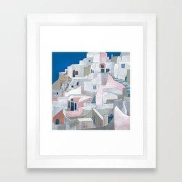 greece houses santorini Framed Art Print