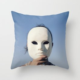 Mask enigmatic girl blue sky Throw Pillow