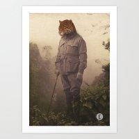 jungle Art Prints featuring Jungle Jaguar by Chase Kunz