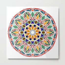 Round ornament in ethnic style Metal Print
