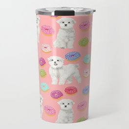 Maltese donuts dog breed funny pet lover dog person pattern print by pet friendly Travel Mug