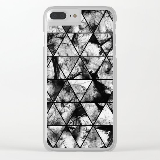 Triangular Whispers - Black and white, geometric abstract Clear iPhone Case