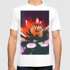 Red Water Lily MEDIUM Mens Fitted Tee White