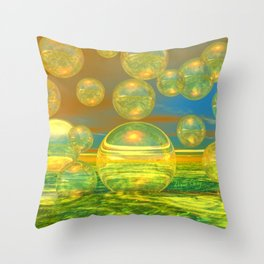 Golden Days, Abstract Yellow and Azure Tranquility Throw Pillow
