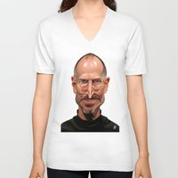 steve jobs V-neck T-shirts featuring Celebrity Sunday ~ Steve Jobs by rob art | illustration
