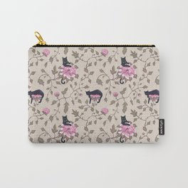Cats and flowers on beige background Carry-All Pouch