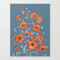 Red poppies in grey Canvas Print