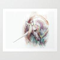 unicorn Art Prints featuring Unicorn by beart24