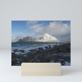 White, blue and grey Mini Art Print