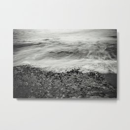 Hawaii Ocean Wave Receding (Black & White) Metal Print