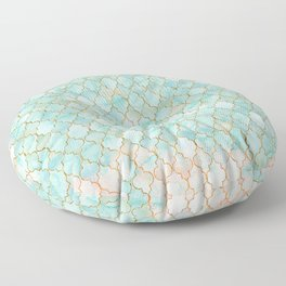 Luxury Aqua and Pink and Gold oriental pattern Floor Pillow