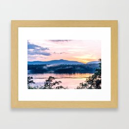 Sunset Over The Catskill Mountains Framed Art Print