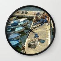 fishing Wall Clocks featuring Fishing by Sébastien BOUVIER
